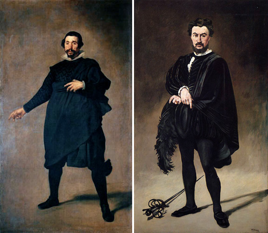 "Diego Rodriguez de Silva y Velázquez, ""The Jester Pablo de Valladolid"" (ca. 1632-35). Edouard Manet, ""The Tragic Actor (Rouviere as Hamlet)"" (1865-66)."